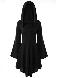 Women's Lace-Up Flare Sleeve Hooded High Low Dress Knee-Length Dress