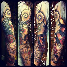 tom-arm-sleeve-girl-gypsy-swallow-tattoo.jpg (960×960)