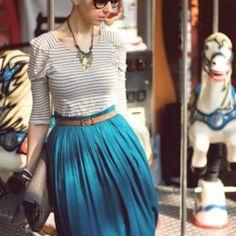 Skirt & striped shirt