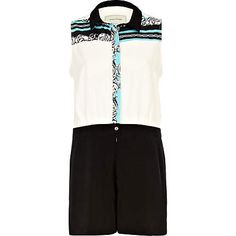 cream colour block scarf print playsuit - seasonal offers - sale - women - River Island