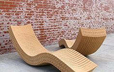 """Lounge chairs from cork! Love these! The Cortiça chaise is full-sized at 72"""" x 20"""" x 26"""", making it spacious and comfortable besides being buoyant. It's form balances itself to support your weight while offering a certain amount of pliability to allow for rocking and relaxing."""
