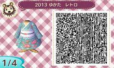 ACNL QR Code: Rose & Polka Dot Kimono