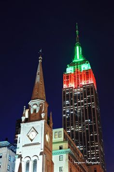 Empire State Building lightened for for the Holidays, NYC