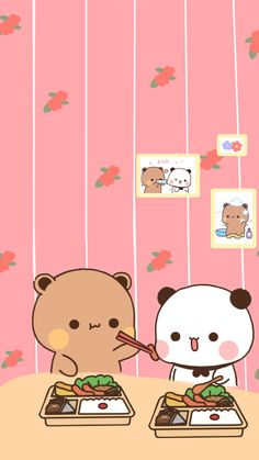 Cute Bunny Cartoon, Cute Kawaii Animals, Cute Cartoon Pictures, Cute Love Pictures, Pink Wallpaper Anime, Cute Panda Wallpaper, Cute Patterns Wallpaper, Cute Bear Drawings, Kawaii Drawings