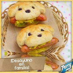 Lindos Sandwiches de salchicha en forma de perrito :)