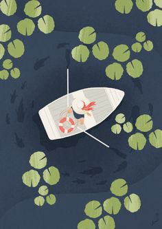 "karolinepietrowski: ""Today's ""Boat"" "" I love this illustration. It reminds me of a trip I took to a lake in Connecticut back when I was in college. My friend's family rented a cabin and we spent a long, lazy weekend there…. Art And Illustration, Illustrations And Posters, Design Illustrations, Watercolor Illustration, Kunst Inspo, Art Inspo, Illustrator, Boat Drawing, Posca Art"