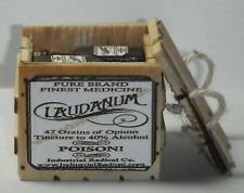 Dollhouse miniature handcrafted 1/12th scale laudanum crate filled bottles wood