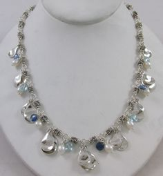 MICHAEL DAWKINS STERLING SILVER FRESH WATER PEARL & BLUE TOPAZ DANGLE NECKLACE #MichaelDawkins