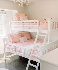 """""""When we decided on bunk beds for their new shared room, going with Beddy's for their bedding was a no brainer. They came highly recommended and for good reason. Both girls can now make their own bed with the ease of a zipper."""" 🙌🏻 @michellemccarroll  📷: @lauraparkerphoto #beddys #zipperbedding #zipyourbed #girlbedding #girlbed #beddysbeds #girlyroom #girlsroomdecor #girlsroom #girlsroominspo #girlsroominspiration #girlsroomdecoration #girlsroomstyling #girlystuff Boy And Girl Shared Room, Bed For Girls Room, Girls Bedroom, Kids Room, Bunk Beds Boys, Kid Beds, Floral Bedroom Decor, Boho Decor, Beddys Bedding"""