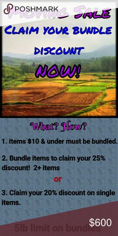 CLAIM your Discount! Moving Sale! I'm moving and can't take it with me.  Please help me clear out these great items AND GET A GREAT DEAL!  *CLAIM your discount of 25% off bundles OR *CLAIM your discount of 20% off single items  **Add items to a bundle and submit a bid according to this offer or ask ME to bundle them for you and receive a FREE GIFT!**  Items $10 and under MUST be added to a BUNDLE for 25% off their already ridiculously low prices! Intimates & Sleepwear