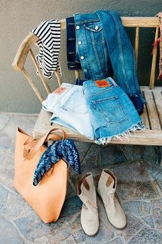 Ready for whatever the weekend may bring in Levi's 501 shorts, easy stripes and a denim jacket.