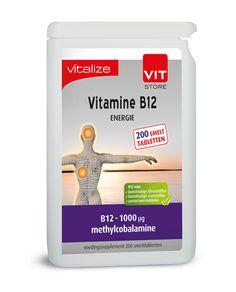 Vitalize B12 Energie 200 tabletten  Inhoud: 200 smelttabletten Gebruik: Één smelttablet per dag. Methylcobalamine is de bioactieve vorm van vitamine B12 in het lichaam. Deze vorm hoeft niet meer omgezet te worden en is daarom direct werkzaam. Een dosering van 1000 µg per dag bevordert de energiestofwisseling helpt bij de aanmaak van rode bloedcellen en steunt de opbouw van zenuwcellen. Vitamine B12 komt uitsluitend voor in dierlijke producten. Mensen die minder goed vitamine B12 opnemen…
