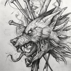 Skull art tattoo sketches wolves Ideas for 2019 Dark Art Drawings, Art Drawings Sketches, Tattoo Sketches, Tattoo Drawings, Tattoo Art, Fenrir Tattoo, Norse Tattoo, Viking Tattoos, Creepy Tattoos