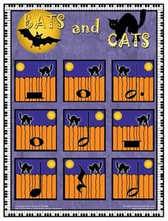 Bats and Cats My students have been enjoying this Halloween rhythm game lately and I thought your students might like it, too. It is fast, and can be played the last 5 minutes of a lesson. The card. Music Activities, Music Games, Piano Games, Rhythm Games, Music Math, Literacy Games, Piano Music, Sheet Music, Halloween Music