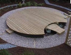 nice circular wood deck