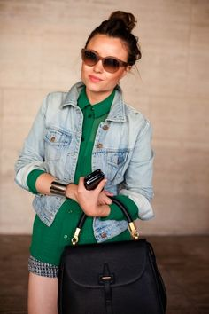 Tweed shorts, sheer green button down, and denim jacket = perfection