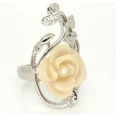 Snow White Silver & White Rose Ring  BY Disney Couture