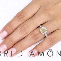 1.43 Ct. GIA Certified Natural Fancy Yellow Cushion Cut Diamond Engagement Ring - Style # FD-127 - $3,480