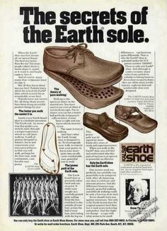 Earth Shoes - a huge fad. I had a pair of the T-straps. Vintage Love, Vintage Shoes, Vintage Outfits, Me Too Shoes, Women's Shoes, 70s Shoes, Duck Shoes, Vintage Advertisements, Vintage Ads