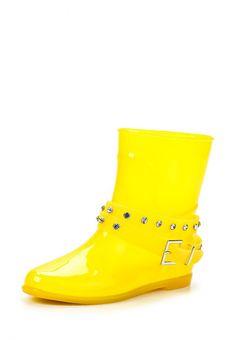 Резиновые полусапоги Keddo женские. Цвет: желтый. Материал: полимер. Сезон: Осень-зима 2014/2015. С бесплатной доставкой и примеркой на Lamoda. http://j.mp/1pCZbqA