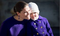 Crown Princess Victoria of Sweden and her daughter Princess Estelle attended festivities to celebrate the Crown Princess' name day at the Royal Palace court yard on March 12, 2014 in Stockholm