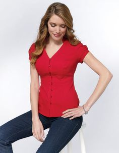 Textured Shirt in Red by Pepperberry