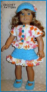 American Doll Crochet Patterns Free | Doll Clothes Crochet Pattern Fits 18 inch American Girl 10 | eBay