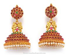 Latest designs of jhumkas/jhumki earrings in gold, antique,diamond, imitation and one gram gold jewellery. Traditional Indian Jewellery, Indian Jewellery Design, Jewelry Design, India Jewelry, Temple Jewellery, Gold Jewellery, Diamond Jhumkas, Gold Jewelry For Sale, Jhumka Designs