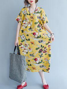 Floral Short Sleeve V Neck Pocket Loose Women Dresses