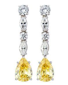 Fantasia Pear Canary Crystal Drop Earrings Jj2ZMUp