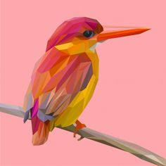 Red kingfisher bird pose on a branch lowpoly vector Premium Vector Lovebirds Art, Low Poly Art, Geometric Animals, Bird Drawings, Animal Paintings, Easy Canvas Art, Polygon Art, 3d Paper Art, Pictures To Paint