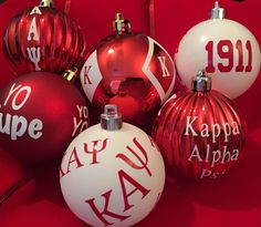 Set of Fraternity ornaments inspired by Kappa Alpha Psi Phi Nu Pi by AddiCakeCreations on Etsy