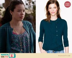 Mariana's teal leopard print top and green cardigan on The Fosters.  Outfit Details: https://wornontv.net/27577/ #TheFosters
