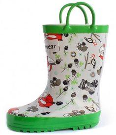 stivali da pioggia in gomma 100% con animali del bosco bambino