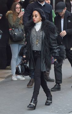 the couple of the moment—Robert Pattinson and singer FKA twigs—was seen yesterday in the City of Lights in matching outfits.