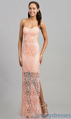 Floor Length Strapless Lace Dress at SimplyDresses.com IDFK