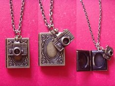Vintage Style Bronze Camera Book Shape Locket Penant Charm Necklace