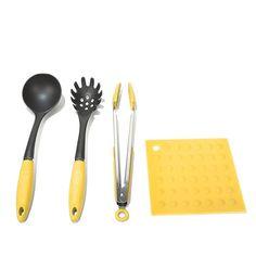 Elite Bistro 4-piece Nonstick-Safe Utensil Set - Yellow