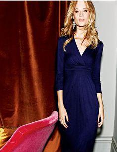 Jersey dress in a rich, stunning blue. Dress me up or down.