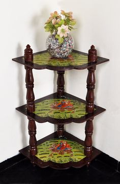 Indian Wooden Brown Corner Table Decoratrive Furniture 3 Shelf Book Case Housewarming Gift 37 x 18 x 18 Inches by HouseOfHandicraft on Etsy