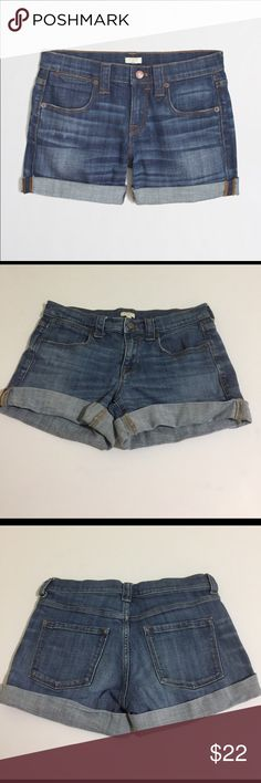 J. Crew Factory Denim Stretch Cuffed Shorts, 27 J. Crew Factory Denim Stretch Cuffed Shorts in size 27. Flat lay measure of the waist is 15. Rise is 8.25 and inseam is about 3.5 cuffed (can be uncuffed  for a cutoff look). Features a mid wash blue with factory fading, whiskering and slight grinding. Made from 98% cotton and 2% elastan.  Please look at all photos and ask if you have any questions. J. Crew Factory Shorts Jean Shorts