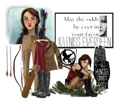 """""""Katniss Everdeen"""" by hopefortomorrow ❤ liked on Polyvore featuring Balmain, Hollister Co. and MAC Cosmetics"""