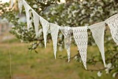 Lace Bunting Banner lace bunting wedding by TheGlitteredBarn Wedding Bunting, Woodland Wedding, Diy Wedding, Rustic Wedding, Wedding Decorations, Wedding Tips, Lace Bunting, Bunting Garland, Wedding Costs