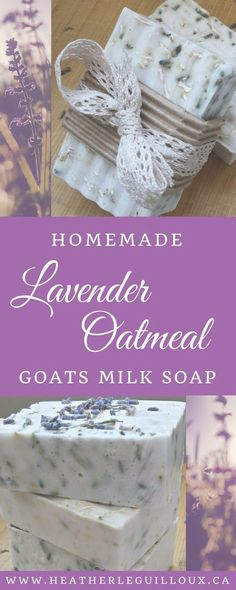 Learn how to make your own homemade lavender oatmeal goats milk soap at home - made with doTERRA Lavender essential oil. Includes recipe, ingredients, tools, and step-by-step instructions. (diy spa products to sell) Soap Making Recipes, Homemade Soap Recipes, Homemade Soap Bars, Homemade Products, Diy Savon, Oatmeal Soap, Essential Oils Soap, Soap Making Supplies, Lavender Soap