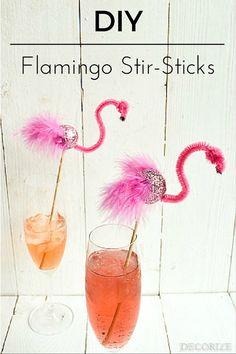 DIY Flamingo Stirsticks Pretty In Pink, Let's Flamingle, Flamingo Party, Ballon, Alcoholic Drinks, Crafty, Rose, Glass, Inspiration