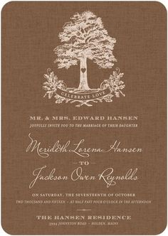 Perfect for a rustic wedding reception, this natural wedding invitation incorporates illustration with a back-to-nature feel.