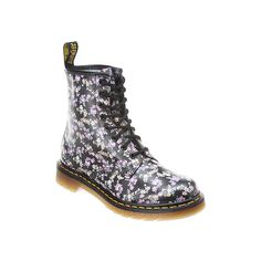 Dr. Martens Floral Boot Mid-Calf Boots ($135) ❤ liked on Polyvore
