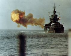 Battleship USS Idaho bombarding Okinawa, 1945