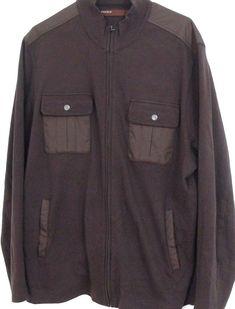 Mens Perry Ellis Cotton Jacket Full Zip Brown Cardigan Sweater Size XL #PerryEllis #BasicJacket