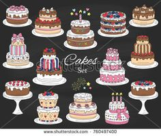 Cakes set, vector hand drawn, colorful doodle illustration. Different types of tasty cakes.  Birthday, wedding, cherry, strawberry and chocolate cakes collection, isolated on chalkboard.